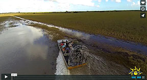 Air boat on water